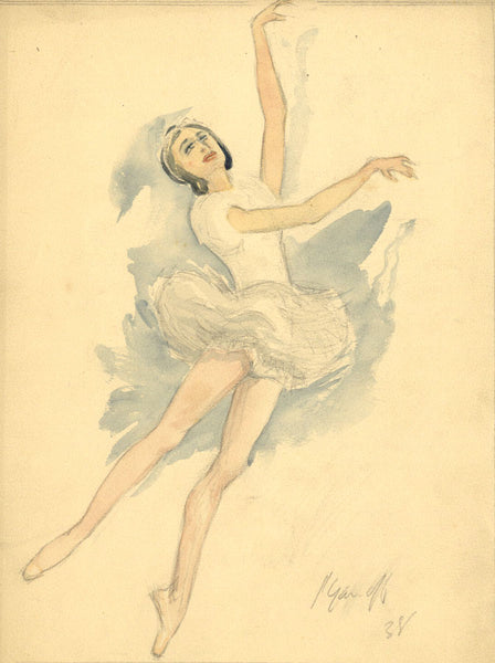 P. Garst, Leaping Ballerina in White - Original 1938 watercolour painting