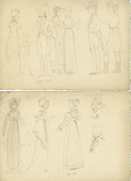 P. Garst, Historical Costume Sketches, early 1800s - 1950s graphite drawing