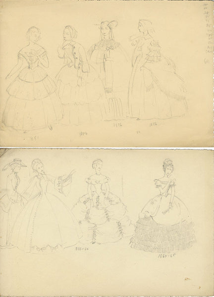 P. Garst, Women's Historical Costumes, 1850s & 60s  - 1950s graphite drawing
