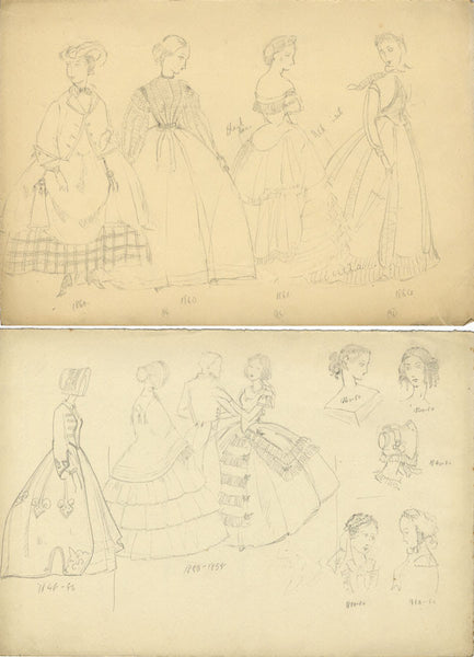P. Garst, Women's Historical Fashion & Hairstyles, 1860s -1950s graphite drawing