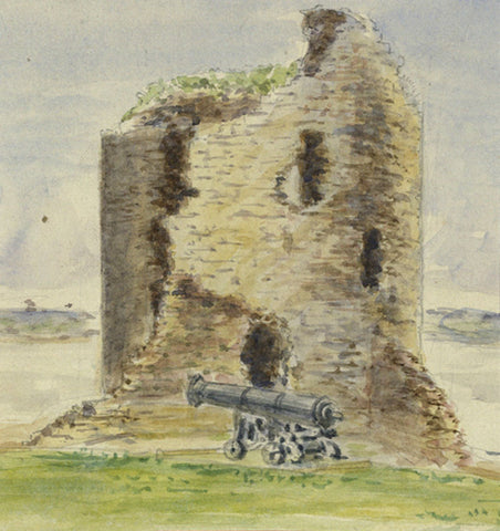 Thomas J. Marple, Flint Castle Tower, North Wales -Late 19th-century watercolour