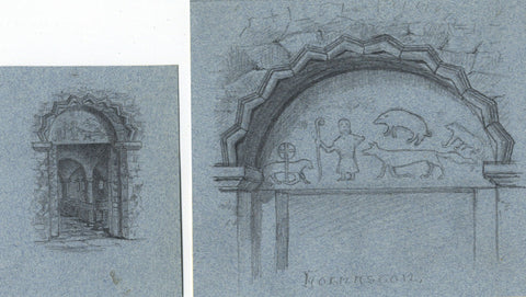 Thomas J. Marple, Norman Doorway, Derbyshire -Late 19th-century graphite drawing