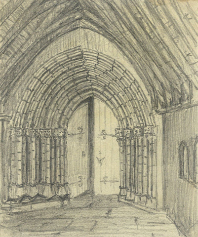 Thomas J. Marple, Llanaber Church Door, Wales-Late 19th-century graphite drawing