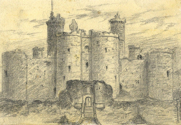 Thomas J. Marple, Harlech Castle, N. Wales - Late 19th-century graphite drawing