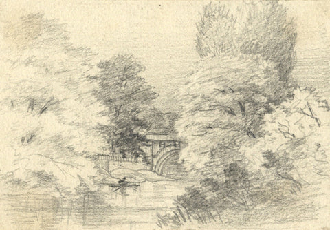 Thomas J. Marple, Bridge over a Woodland River - 19th-century graphite drawing