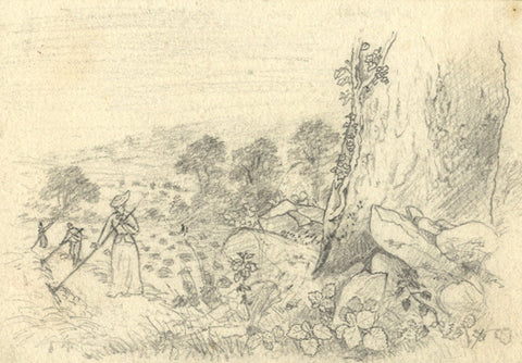 Thomas J. Marple, Farm Workers in Field - Original 19th-century graphite drawing