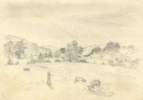 Thomas J. Marple, Figure in Rural Landscape - 19th-century graphite drawing