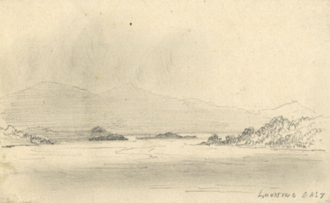 Thomas J. Marple, View of Loch Lomand - Original 19th-century graphite drawing