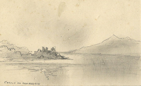 Thomas J. Marple, Inchmurrin Castle, Scotland - 19th-century graphite drawing