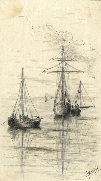 Thomas J. Marple, Slate Boats, North Wales - Late 19th-century pen & ink drawing