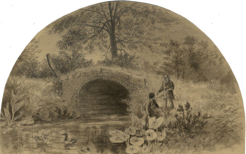 Thomas J. Marple, Markeaton Brook, Derbyshire-Late 19th-century graphite drawing