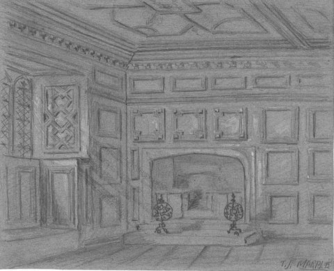 Thomas J. Marple, Haddon Hall Interior - Late 19th-century graphite drawing