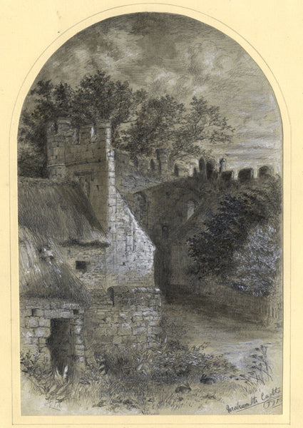Thomas J. Marple, Mackworth Castle, Derbyshire - 19th-century pen & ink drawing