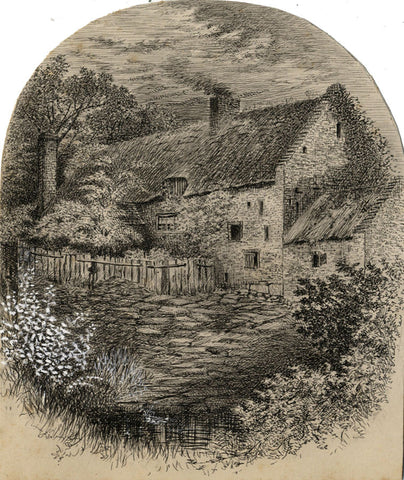 Thomas J. Marple, Country Farm, Littleover - Late 19th-century pen & ink drawing
