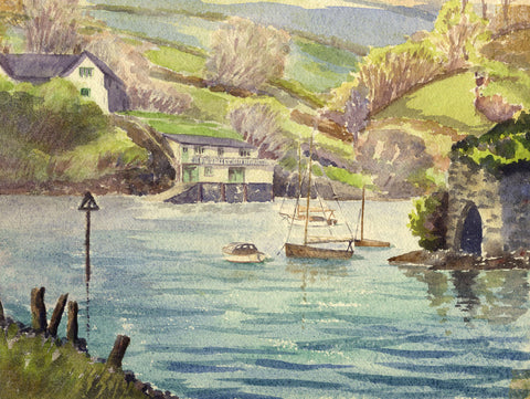 Peter Stuckey, Boats at a Village Inlet  - Contemporary watercolour painting