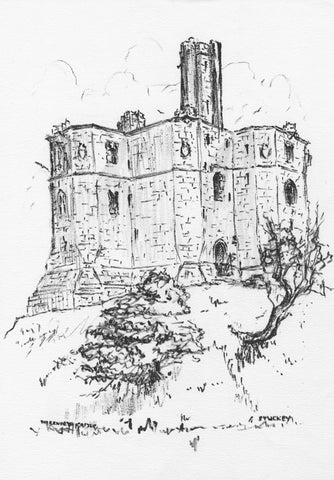 Peter Stuckey, Warkworth Castle, Morpeth-Original contemporary pen & ink drawing