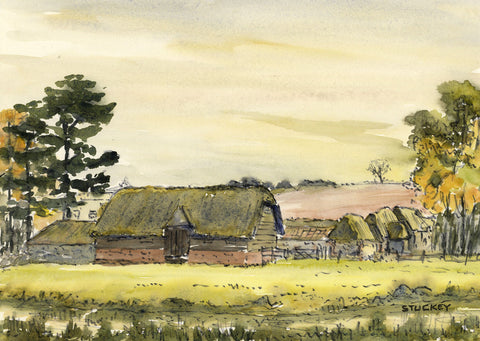 Peter Stuckey, Wiltshire Barns - Original contemporary watercolour painting