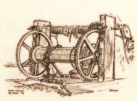 Peter Stuckey, Ship's Anchor Windlass - Original contemporary pen & ink drawing