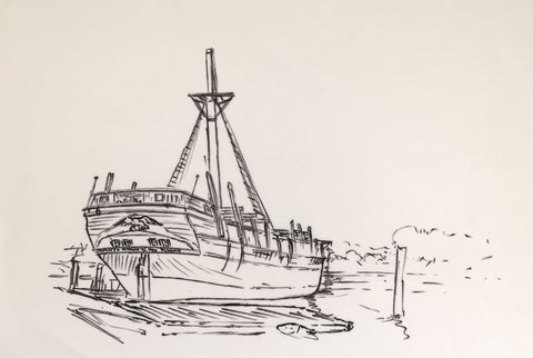 Peter Stuckey, Old Merchant Ship  - Original contemporary pen & ink drawing