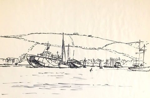 Peter Stuckey, Tugboats in the Harbour - Original contemporary pen & ink drawing