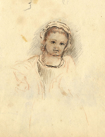 George Evans, Little Girl in Bonnet - Original 18th-century pen & ink drawing
