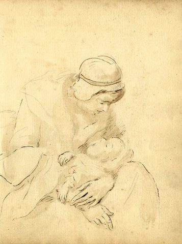 George Evans, Mother and Sleeping Child -Original 18th-century pen & ink drawing