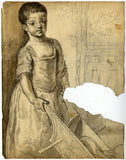 George Evans, Child with Wheelbarrow -Original 18th-century graphite drawing