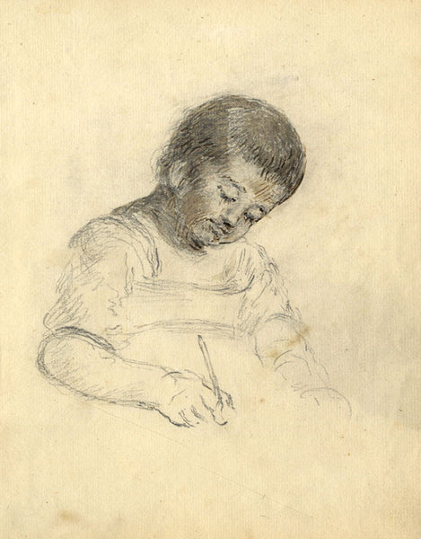 George Evans, Child Writing at Desk - Original 18th-century graphite drawing