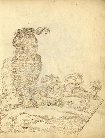 George Evans, Ram on a Mountaintop - Original 18th-century pen & ink drawing