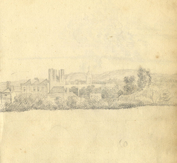 George Evans, Country Village Landscape - Original 18th-century graphite drawing