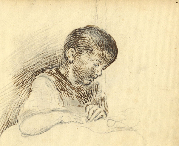 George Evans, Child Reading  - Original 18th-century pen & ink drawing