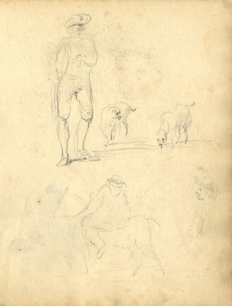 George Evans, Rural Studies, People and Animals - 18th-century graphite drawing