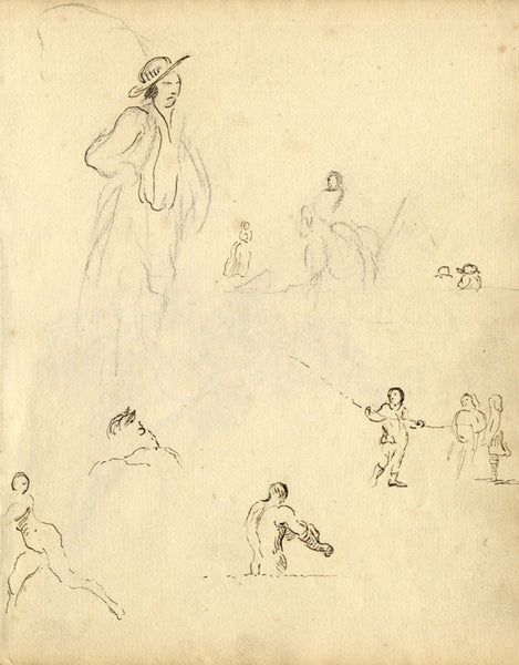 George Evans, Artist Sketches, People and Plants - 18th-century graphite drawing