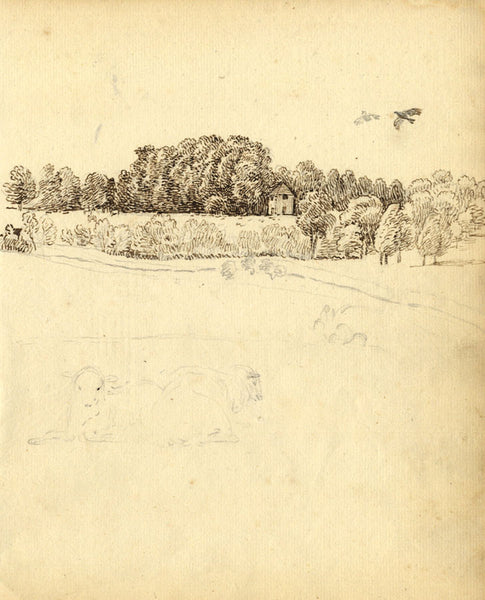 George Evans, Cows in Pasture - Original 18th-century graphite drawing