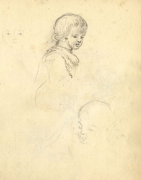 George Evans, Child Portrait Studies - Original 18th-century graphite drawing