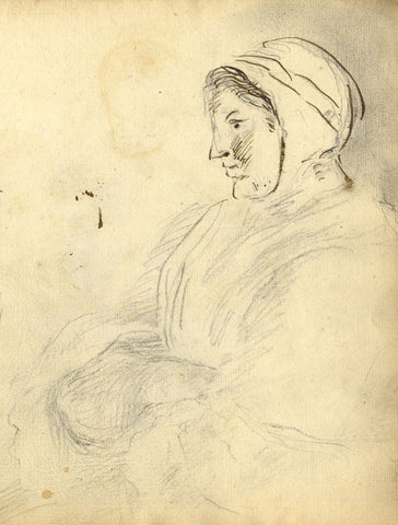 George Evans, Seated Woman in Profile - Original 18th-century graphite drawing