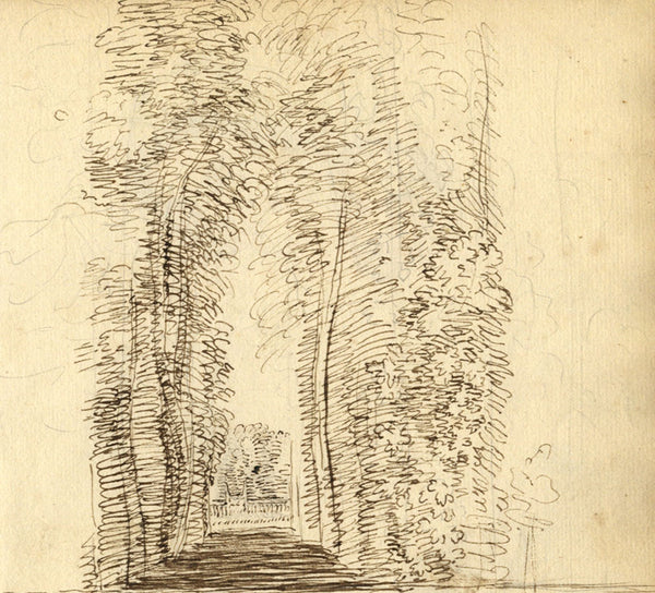 George Evans, Garden Walkway with Trees -Original 18th-century pen & ink drawing