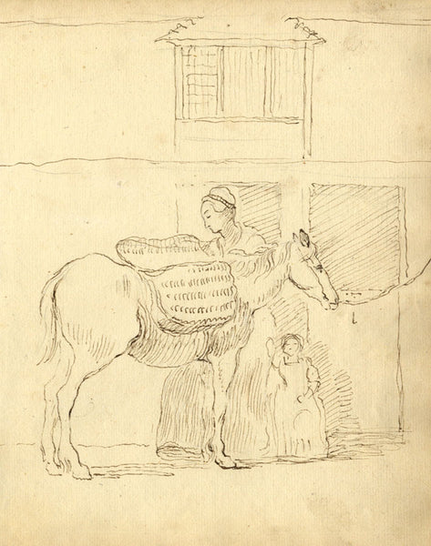 George Evans, Woman and Child Saddling a Horse - 18th-century pen & ink drawing
