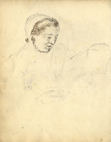 George Evans, Woman's Head in Profile - Original 18th-century graphite drawing
