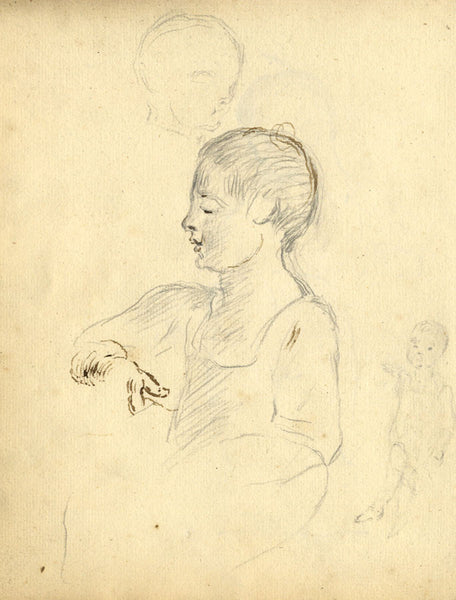 George Evans, Seated Child in Profile - Original 18th-century graphite drawing