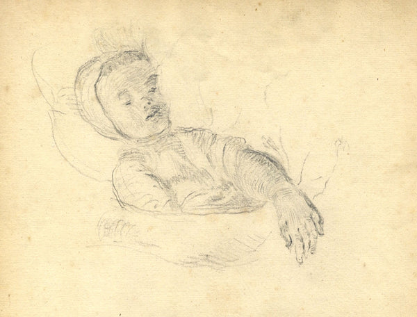 George Evans, Sleeping Girl Child - Original 18th-century graphite drawing