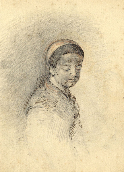 George Evans, Child in a Bonnet  - Original 18th-century graphite drawing