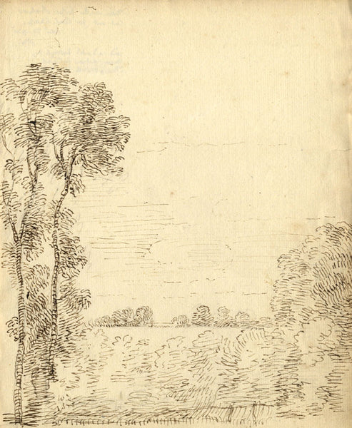 George Evans, Woodland Landscape -18th-century pen & ink drawing