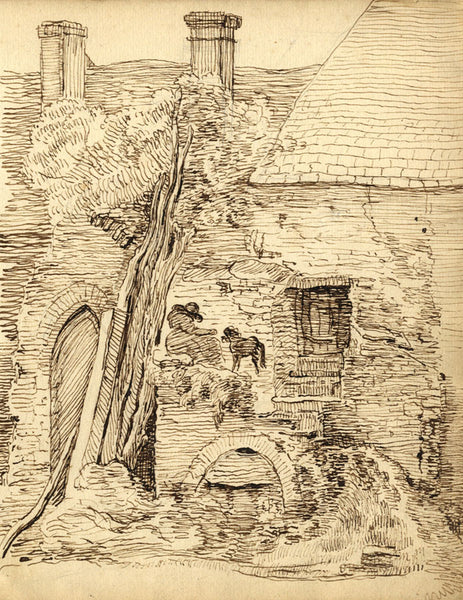 George Evans, Seated Woman and Dog in Village - 18th-century pen & ink drawing