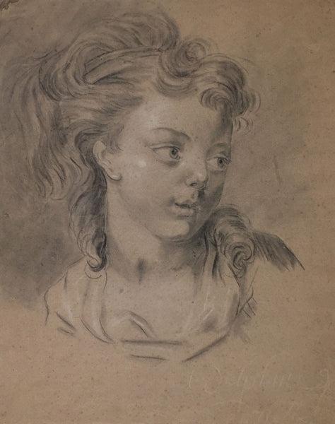 Portrait of Delphine - 18th-century French Rococo black chalk drawing