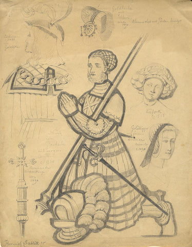 Heinrich Schlitt German Medieval Costume Studies -Original 1875 graphite drawing