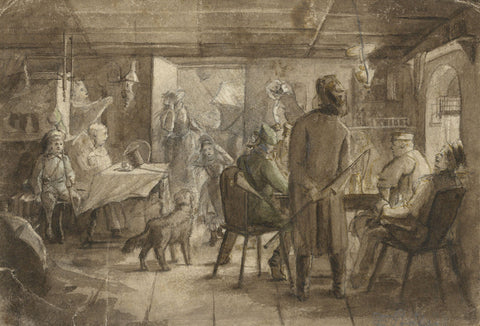 German School, A Tavern Interior - 19th-century watercolour painting in sepia