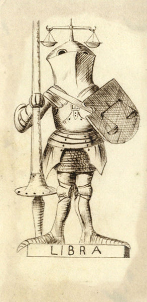 Pickford Robert Waller, Knight Libra - Original 19th-century pen & ink drawing
