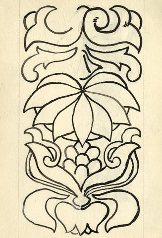Pickford Robert Waller, Decorative Floral Design - 1897 pen & ink drawing