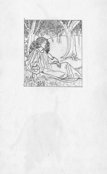 Pickford Robert Waller, Shepherdess Beneath a Tree - 1897 pen & ink drawing